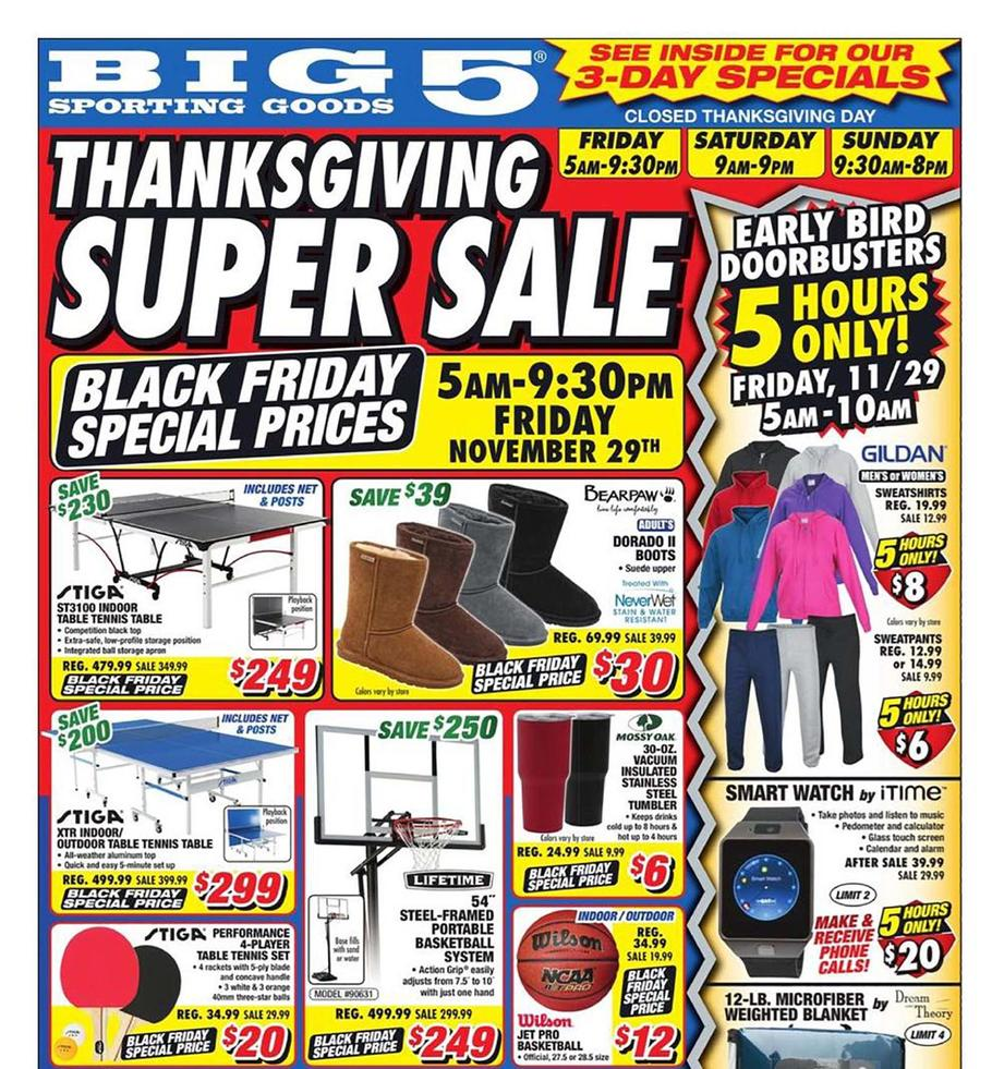 Big 5 Sporting Goods Black Friday Ad Scan 2019