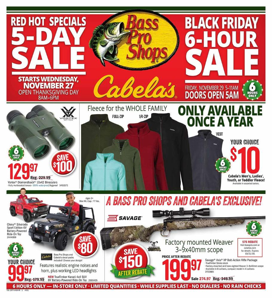 Cabelas and Bass Pro Shops Black Friday Ad Scan 2019