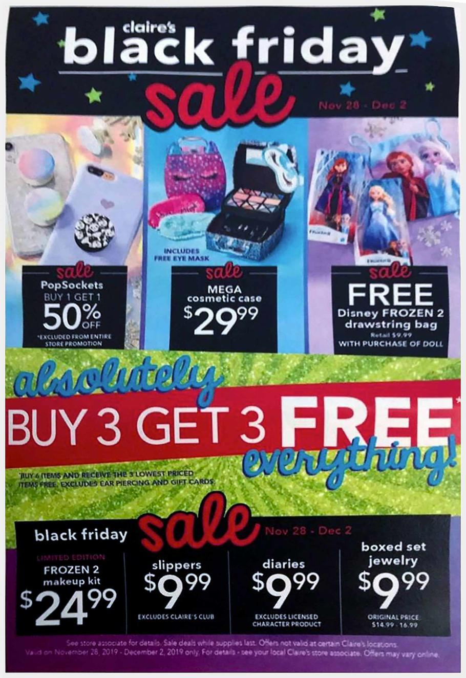 Claires Black Friday Ad Scan 2019