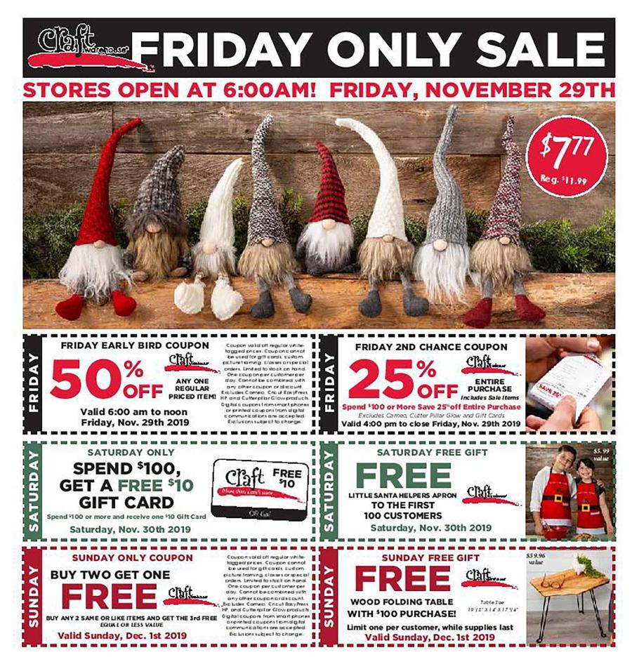 Craft Warehouse Black Friday Ad Scan 2019