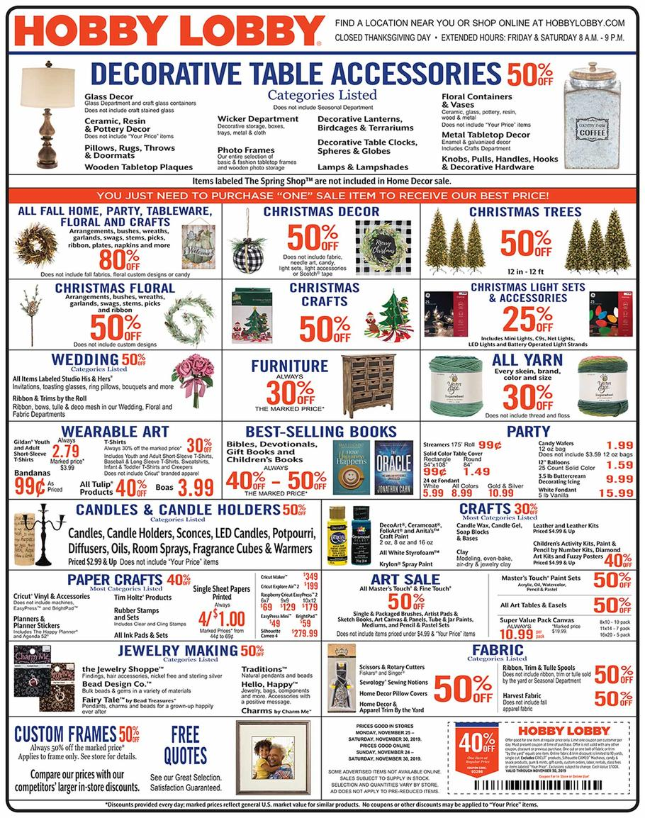 Hobby Lobby Black Friday Ad Scan 2019